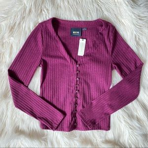Anthropologie Maeve purple ribbed button top